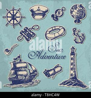Collection of stickers with maritime subjects in sketch style. Vector  illustration for your design - Stock Photo