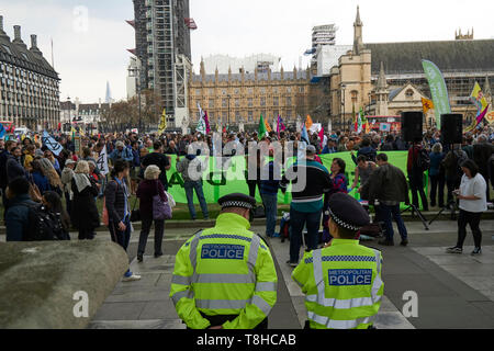 London,England-May 1,2019:Extinction Rebellion Rally Against Climate Change  In Parliament Square,London - Stock Photo