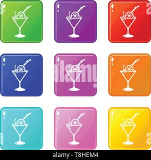 Cocktail icons set 9 color collection - Stock Photo
