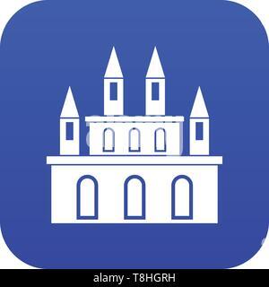 Medieval castle icon digital blue - Stock Photo