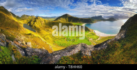 Haukland beach on Lofoten islands, Norway. View from the mountain Mannen. - Stock Photo