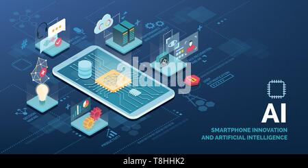 Innovative smartphone with AI applications vector infographic: virtual assistant, performance optimization, user authentication, productivity, decisio - Stock Photo
