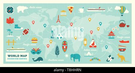 World map with travel routes, destinations and landmarks from all continents: vacations and traveling concept - Stock Photo