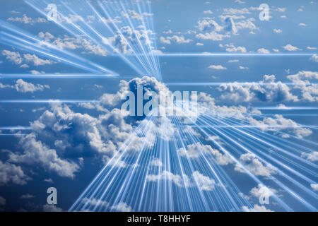 3D rednering of a conceptual image of digital data flowing in The Cloud - Stock Photo