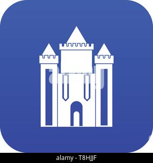 Ancient fort icon digital blue - Stock Photo
