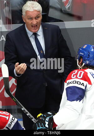 Bratislava, Slovakia. 13th May, 2019. BRATISLAVA, SLOVAKIA - MAY 13, 2019: Milos Riha, head coach of the Czech national team, at their 2019 IIHF Ice Hockey World Championship Preliminary Round Group B match against Russia at the Ondrej Nepela Arena. Alexander Demianchuk/TASS Credit: ITAR-TASS News Agency/Alamy Live News - Stock Photo