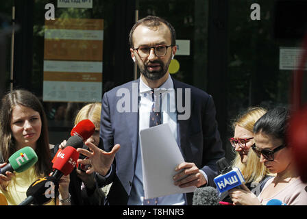 Kiev, Ukraine. 13th May, 2019. Ukrainian lawmaker Serhiy Leshchenko seen speaking to journalists during his visit.Leshchenko claims that the Attorney General of Ukraine Yuri Lutsenko misled attorney of US president Donald Trump and former New York mayor Rudy Giuliani that Leshchenko was convicted of meddling in the 2016 presidential elections in the United States, during his visit in Appellate Administrative Court in Kiev. Credit: Pavlo Gonchar/SOPA Images/ZUMA Wire/Alamy Live News Credit: ZUMA Press, Inc./Alamy Live News - Stock Photo