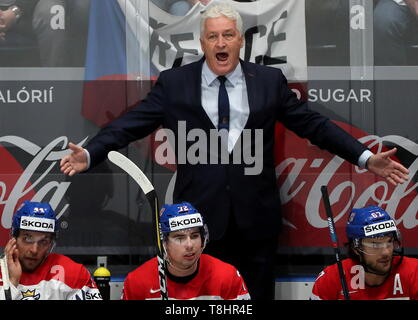Bratislava, Slovakia. 13th May, 2019. BRATISLAVA, SLOVAKIA - MAY 13, 2019: Milos Riha (C background), head coach of the Czech men's national ice hockey team, during the 2019 IIHF Ice Hockey World Championship Preliminary Round Group B match against Russia at the Ondrej Nepela Arena. Alexander Demianchuk/TASS Credit: ITAR-TASS News Agency/Alamy Live News - Stock Photo