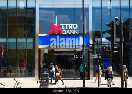 London, UK. 13th May, 2019. A Metro Bank branch is seen in London. Metro Bank's shares dropped by 8% on Monday 13 May 2019 leaving them 70% lower for the year to date and concerns about the bank's financial position. At its many branches, it has been reported that customers are queueing outside the bank after a WhatsApp message advising people to withdraw their money out of their accounts and empty safe deposit boxes. Credit: Dinendra Haria/SOPA Images/ZUMA Wire/Alamy Live News - Stock Photo