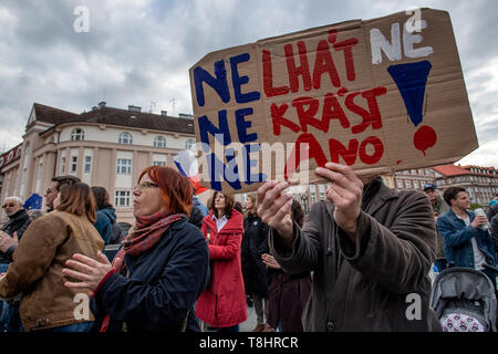 Hradec Kralove, Czech Republic. 13th May, 2019. People attend demonstration against PM Babis and new Justice Minister Benesova in the centre of Hradec Kralove, Czech Republic, May 13, 2019. Credit: David Tanecek/CTK Photo/Alamy Live News - Stock Photo