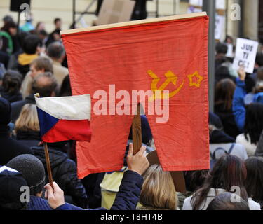 Brno, Czech Republic. 13th May, 2019. People attend third demonstration against PM Babis and new Justice Minister Benesova in the centre of Brno, Czech Republic, May 13, 2019. Credit: Igor Zehl/CTK Photo/Alamy Live News - Stock Photo