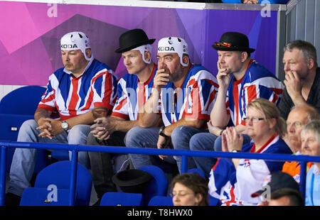 Kosice, Slovakia. 12th May, 2019. GBR icehockey fans, CANADA - GREAT BRITAIN 8-0 Preliminary Round Group A IIHF ICE HOCKEY WORLD CHAMPIONSHIPS in Kosice, Slovakia, Slowakei, May 12, 2019, Season 2018/2019, Credit: Peter Schatz/Alamy Live News - Stock Photo