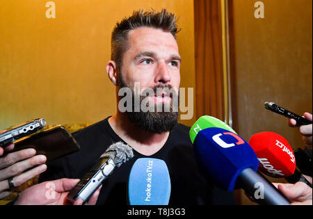 Bratislava, Slovakia. 14th May, 2019. Czech national team's forward Milan Gulas speaks to media at the 2019 IIHF World Championship in Bratislava, Slovakia, on May 14, 2019. Credit: Vit Simanek/CTK Photo/Alamy Live News - Stock Photo