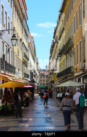 Lisbon - Portugal, a characteristic alley in Barrio Alto district - Stock Photo