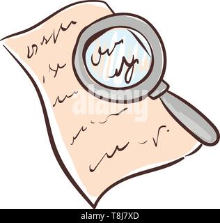 A magnifying glass with a handle over a documented paper to examine the fine letters, fingerprints, and fine print, vector, color drawing or illustrat - Stock Photo