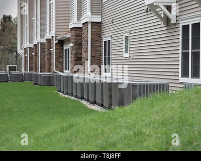Outdoor air conditioning and heat pump units - Stock Photo