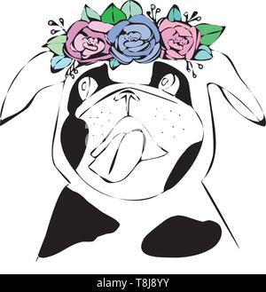 Dog with bright flower. Hand drawn illustration pug. - Stock Photo
