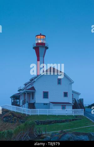 Canada, Nova Scotia, Yarmouth, Cape Forchu Lightstation, historic lighthouse, dawn - Stock Photo