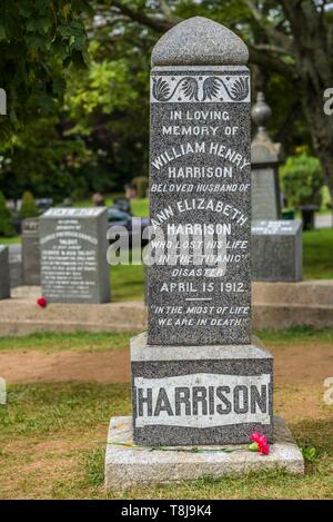 Canada, Nova Scotia, Halifax, Fairview Lawn Cemetery, gravesites of victims of the HMS Titanic sinking in 1912 - Stock Photo