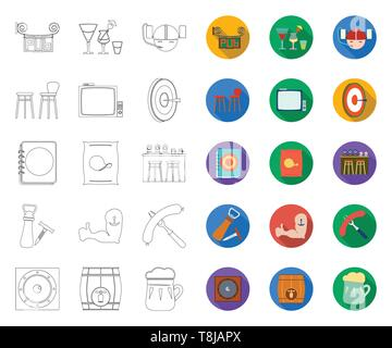 Pub, interior and equipment outline,flat icons in set collection for design. Alcohol and food vector symbol stock  illustration. - Stock Photo