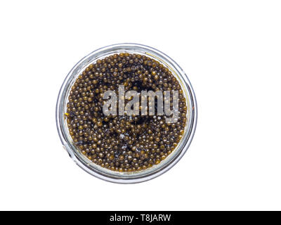 Black caviar in a little bowl on a white background copy space - Stock Photo