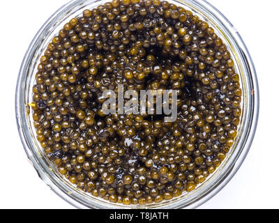 Black caviar in a little bowl on a white background - Stock Photo