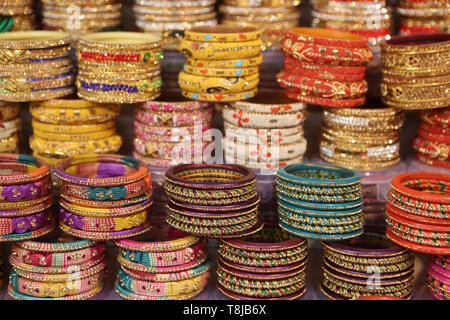 Colorful Indian Bangles on Market - Close-up Detail - Stock Photo