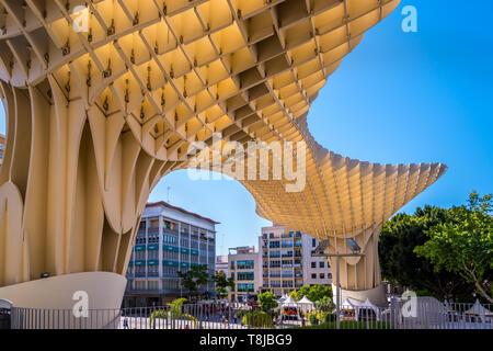 Seville, Spain May 8th 2019: Details of The Metropol Parasol, Setas de Sevilla , the largest wooden structure in the world, , located at Plaza de la E