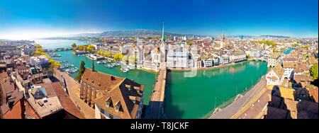 Zurich and Limmat river waterfront aerial panoramic view, largest city in Switzerland - Stock Photo
