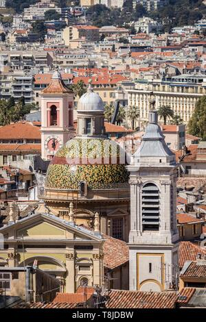 France, Alpes Maritimes, Nice, Old Nice district, dome of the Sainte Reparate Cathedral and Tour de l'Horloge on the left - Stock Photo