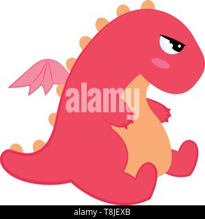 Cute little pink dinosaur with big eyes, two short arms, two short legs, one small tail with wings, vector, color drawing or illustration. - Stock Photo