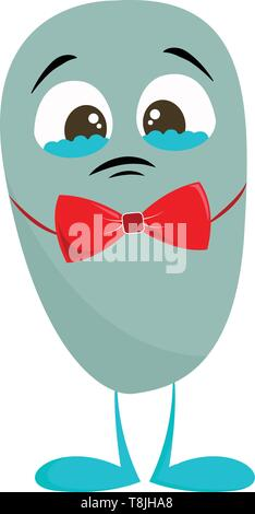 Sad blue teary eyed monster with a red bow tie, vector, color drawing or illustration. - Stock Photo