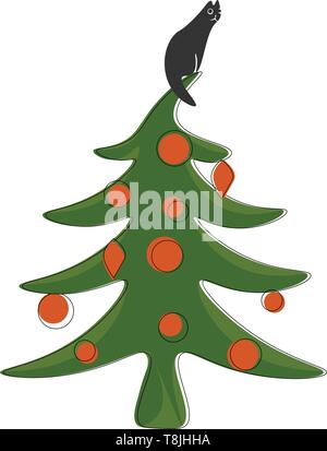 Black cat sitting on top of a green Christmas tree with orange ornaments, vector, color drawing or illustration. - Stock Photo