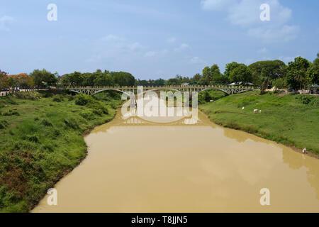 Pedestrian Bridge over Stung Sangke River in Battambang City, Cambodia - Stock Photo