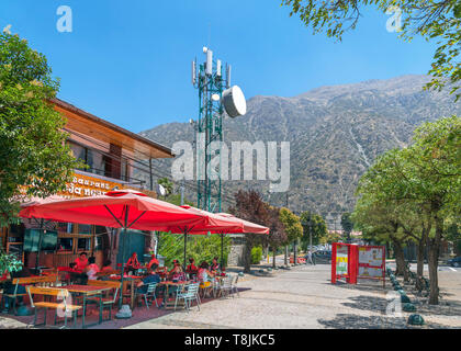 Restaurant next to a mobile phone mast in San Jose de Maipo, Cordillera Province, Chile, South America - Stock Photo