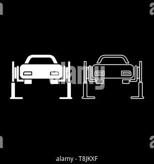 Car lift Car repair Service concept Car on fix lift Car lifted on auto lift icon outline set white color vector illustration flat style simple image - Stock Photo
