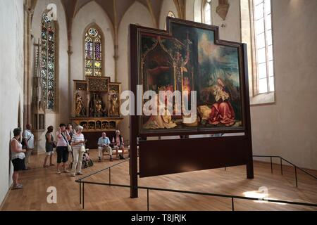 France, Haut Rhin, Colmar, former convent, museum Unterlinden, The altarpiece of Issenheim (or Isenheim), dedicated to St, Anthony, comes from the convent of Antonines in Issenheim, south of Colmar - Stock Photo