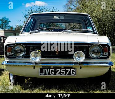 Lotus Cortina mark 2 (Ford) classic car, white,1968 year, UK - Stock Photo