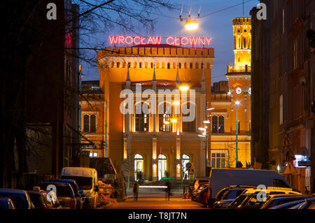 Wroclaw, Poland, Building of the Main Railway Station (Wrocław Głowny) of Wroclaw, Built in the mid-19th century('Breslau Main station') - Stock Photo