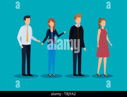 businessmen and businesswomen with elegant clothes and hairstyle - Stock Photo