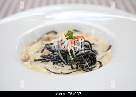 Spaghetti ink squid - Stock Photo