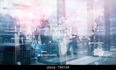 Global Aviation Abstract Background with planes and city names on a map. Business Travel Transportation concept. - Stock Photo