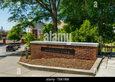 CLEMSON, SC, USA - May 2:  Scroll of Honor Memorial Park at Clemson University on May 2, 2019 in Clemson, South Carolina. - Stock Photo