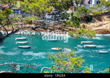 Aerial view of Sa Tuna beach resort Costa Brava Spain - Stock Photo