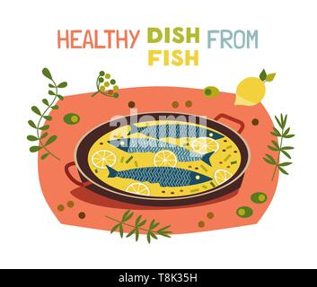 Flat hand drawn vector fish cooking typography poster - Stock Photo