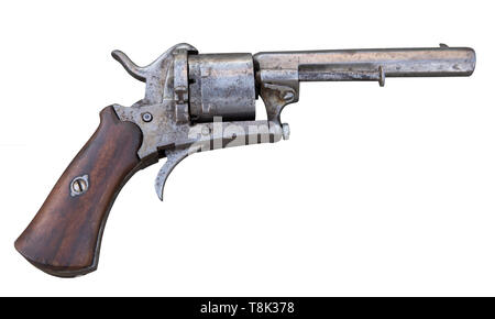 old collection of antique revolver - Stock Photo