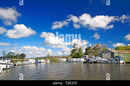 A view of Ludham Bridge with the A1062 road crossing the River Ant at Ludham, Norfolk, England, United Kingdom, Europe. - Stock Photo