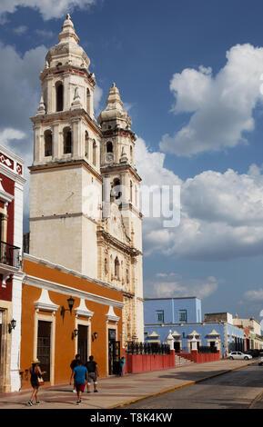 Campeche Mexico - Campeche old town UNESCO world heritage site street scene, street scene, Campeche, Yucatan, Mexico Latin America - Stock Photo