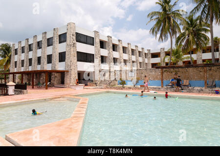 Mexico Hotel - the Hotel Tucan Siho Playa and swimming pool, on the coast of Campeche, Gulf of Mexico, Yucatan, Mexico Latin America - Stock Photo