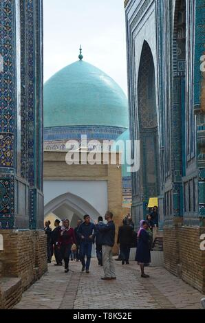Samarkand, UNESCO Weltkulturerbe in Usbekistan: In der Totenstadt Shohizinda - Stock Photo